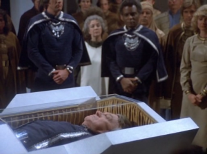 Commander Kronos' body is launched into space with full military honors.  Some egotistical Vulcan would attempt to imitate the circumstances three years later.