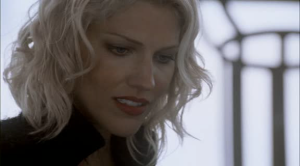 "Tricia Helfer as ""Six.""  Has as much screen presence as Galactica's CGI."