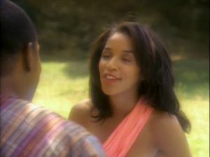Jennifer Sisko during happier times.  Unfortunately, to give Ben Sisko immediate angst, Jennifer dies during Wolf 359.