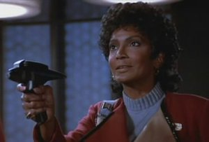 "Uhura's only moment of ""Cool"" in Star Trek III.  She will not be seen in the film for the next hour."