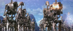 The Trade Federation's Droid Army on the Attack