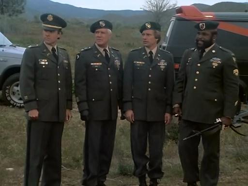 The A-Team in full (soon-to-be retired) Garrison Uniform.  Note the discrepancy in Baracus' uniform.
